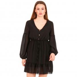 Μαύρο Πουά Mini Φόρεμα με C - Throu Λεπτομέρειες και Κουμπιά
