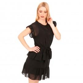 Μαύρο Πουά Mini Φόρεμα με C - Throu Λεπτομέρειες και Βολάν