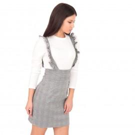 Γκρι Καρό Mini Φόρεμα με Λευκό Εσωτερικό Τοπ