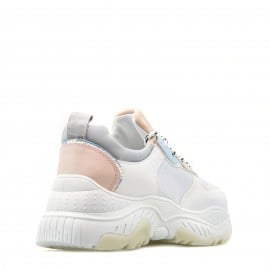 Λευκά Δίπατα Sneakers με Ρόζ Λεπτομέρειες