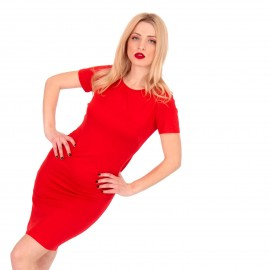 Κόκκινο Κοντομάνικο Mini Φόρεμα