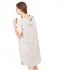 Γκρι Κοντομάνικο Mini Φόρεμα με Κουκούλα