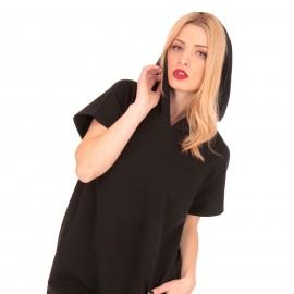 Μαύρο Κοντομάνικο Mini Φόρεμα με Κουκούλα