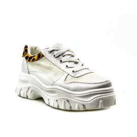 Λευκά Δίπατα Sneakers με Λεοπάρ Λεπτομέρεια