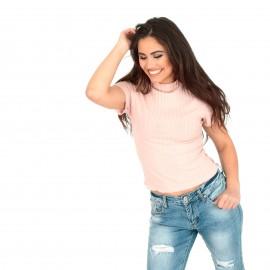 Ρόζ Ripped Cropped Μπλούζα
