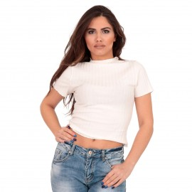 Λευκό Ripped Cropped Μπλούζα