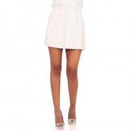 Λευκή Ματ Plisse Mini Φούστα