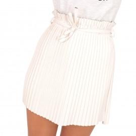Λευκή Ματ Plisse Mini Φούστα με Ζωνάκι