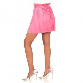 Φούξια Ματ Plisse Mini Φούστα με Ζωνάκι