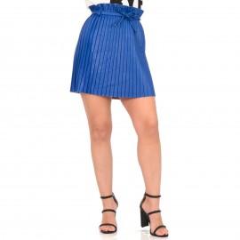 Μπλε Ρουά Ματ Plisse Mini Φούστα με Ζωνάκι
