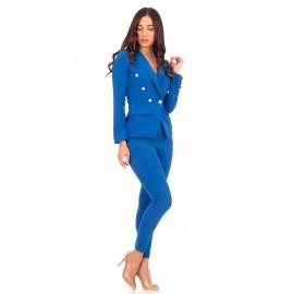 Μπλε Ρουά Σετ Σακάκι - Παντελόνι με Χρυσά Κουμπιά
