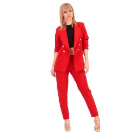 Κόκκινο Σετ Σακάκι - Παντελόνι με Χρυσά Κουμπιά