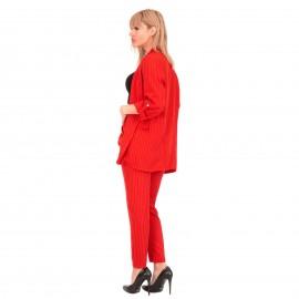 Κόκκινο Σετ Σακάκι - Παντελόνι με Ρίγες