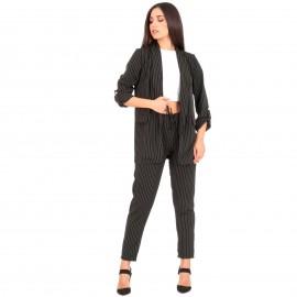 Μαύρο Σετ Σακάκι - Παντελόνι με Ρίγες