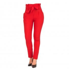 Κόκκινο Ψηλόμεσο Παντελόνι με Ζωνάκι