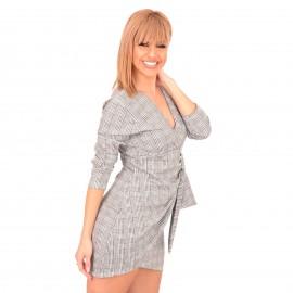 Γκρι Καρό Mini Φόρεμα