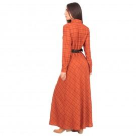 Πορτοκαλί Καρό Maxi Φόρεμα με Ζώνη