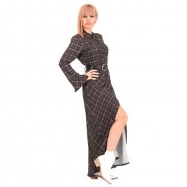 Μαύρο Καρό Maxi Φόρεμα με Ζώνη