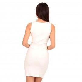 Λευκό Ripped Mini Φόρεμα με Κουμπιά