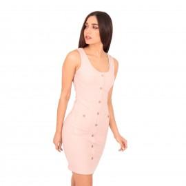 Ρόζ Ripped Mini Φόρεμα με Κουμπιά