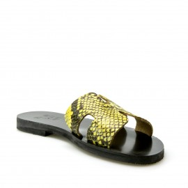 Κίτρινο Δερμάτινο Χειροποίητο Σανδάλι σε Snake Print