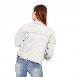 Τζιν Jacket με Σκισίματα