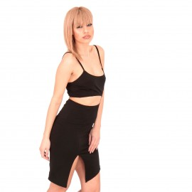 Μαύρο Mini Φόρεμα με Σκίσιμο στο Πλάι
