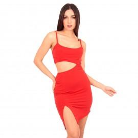 Κόκκινο Mini Φόρεμα με Σκίσιμο στο Πλάι