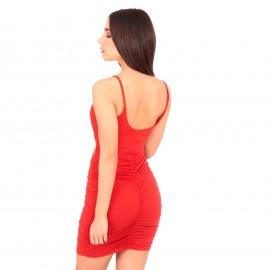 Κόκκινο Mini Φόρεμα με Χιαστί  Άνοιγμα