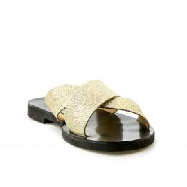 Χρυσό Δερμάτινο Χιαστί Σανδάλι με Glitter