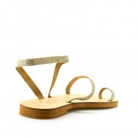 Χρυσό Δερμάτινο Χειροποίητο Σανδάλι με Glitter