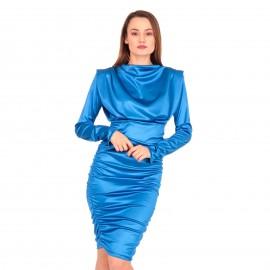 Μπλε Ρουά Σατέν Mini Φόρεμα
