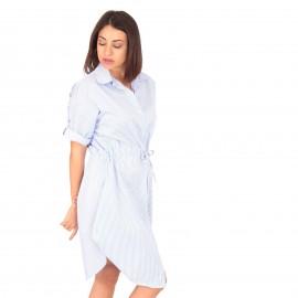 Λευκό Mini Φόρεμα με Ρίγες