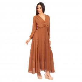 Camel Maxi Φόρεμα με Πλισέ Φούστα