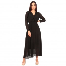 Μαύρο Maxi Φόρεμα με Πλισέ Φούστα