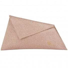 Bronze Τσαντάκι Φάκελος Χειρός με Glitter Pierro