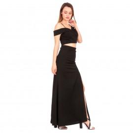 Μαύρο Σετ Maxi Φούστα με Σκίσιμο και Off Shoulder Τοπ