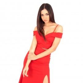 Κόκκινο Σετ Maxi Φούστα με Σκίσιμο και Off Shoulder Τοπ