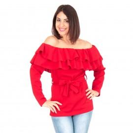 Κόκκινη Off Shoulder Μπλούζα με Βολάν