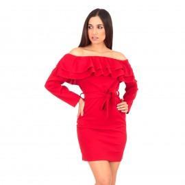 Κόκκινο Off Shoulder Mini Φόρεμα με Βολάν και Ζωνάκι