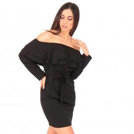 Μαύρο Off Shoulder Mini Φόρεμα με Βολάν και Ζωνάκι