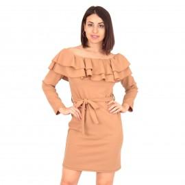 Μπεζ Off Shoulder Mini Φόρεμα με Βολάν και Ζωνάκι