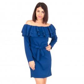 Μπλε Ρουά Off Shoulder Mini Φόρεμα με Βολάν και Ζωνάκι