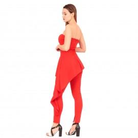 Κόκκινη Ολόσωμη Strapless Φόρμα με Ασύμμετρο Βόλάν