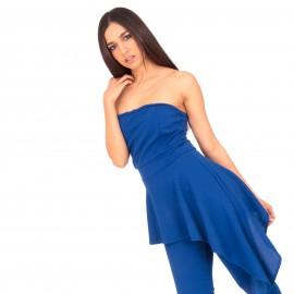 Μπλε Ρουά Ολόσωμη Strapless Φόρμα με Ασύμμετρο Βόλάν