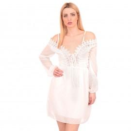 Λευκό Πουά C - Throu Mini Φόρεμα με Δαντέλα
