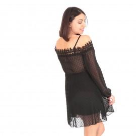 Μαύρο Πουά C - Throu Mini Φόρεμα με Δαντέλα