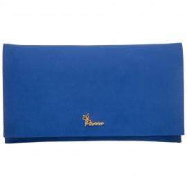 Μπλε Ρουά Σουέτ Τσαντάκι Φάκελος με Μεταλλικό Logo Pierro