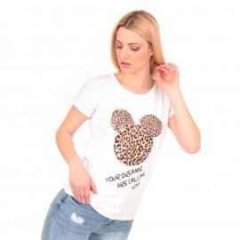 Λευκό T-Shirt με Λεοπάρ Στάμπα