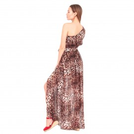 Λεοπάρ Maxi Φόρεμα με Έναν Ώμο